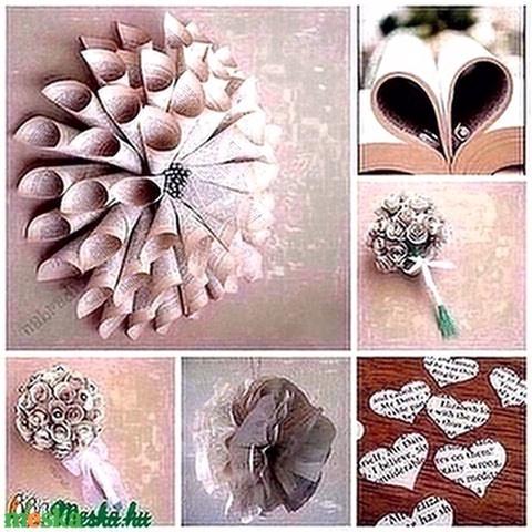 Regényes vintage virágcsokor könyvlapokból - ballagás, névnap, születésnap, esküvő (nabradi) - Meska.hu