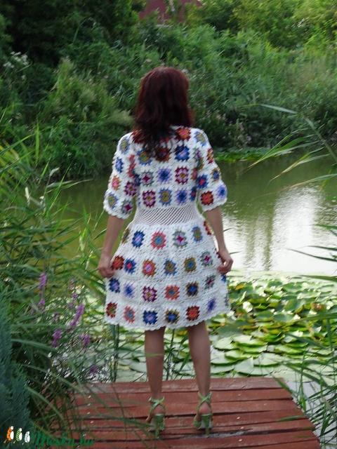 Nagyi mintás nyári horgolt ruha - Meska.hu