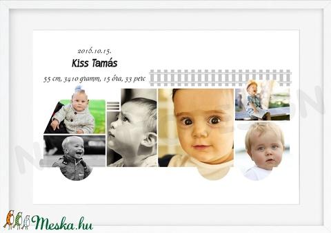 Tűzoltóautós fényképes gyerekszoba poszter KERETTEL, 1 éves egyedi fotós szülinapi autó kisfiúknak, Babaszoba dekor kép (nanetto) - Meska.hu
