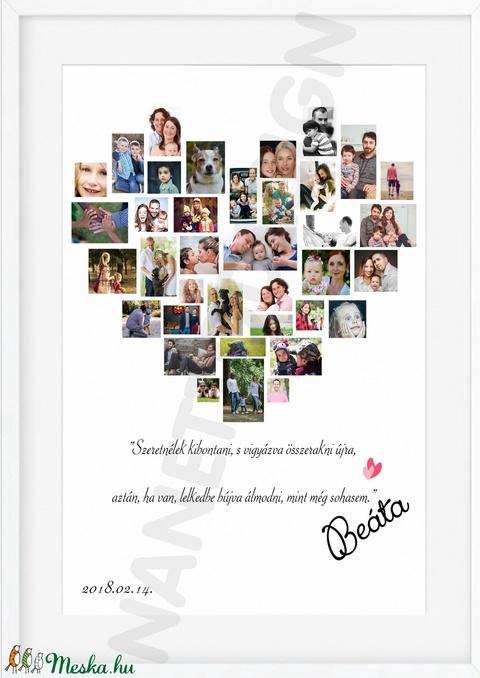 Egyedi szív alakú fényképes szülinapi poszter kerettel, fotókollázs kép montázs, kerekévforduló, nászajándék, apáknak (nanetto) - Meska.hu