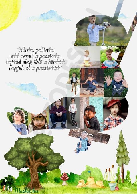Szülinapi poszter, A3, fényképes, hintázós babaszoba dekoráció, hinta palinta emlékap (nanetto) - Meska.hu