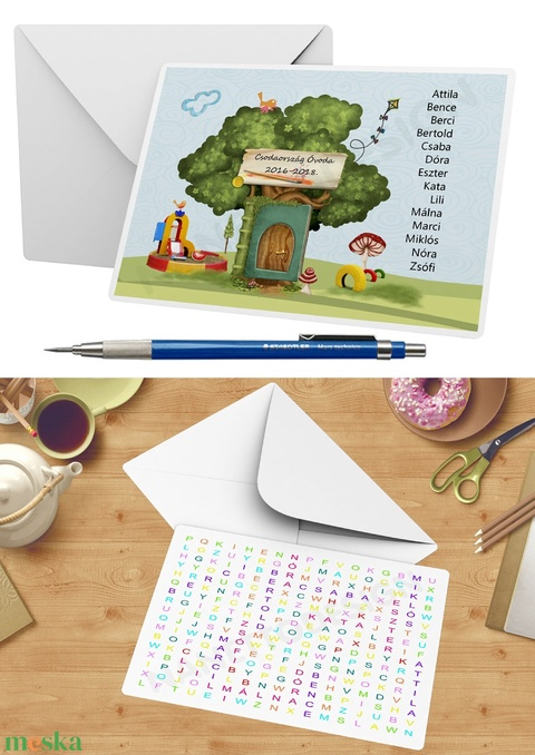A5-ös egyedi vicces szókereső képeslap ballagási ajándékba, Titkos üzenet szókereső, jó tulajdonság, egyedi ötletek - Meska.hu