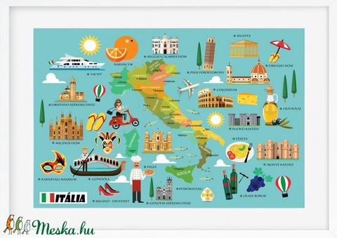 Olaszország itália szülinapi poszter kerettel, Mókás ajándék olasztanároknak, olaszország szerelmeseinek, falidekor prin (nanetto) - Meska.hu