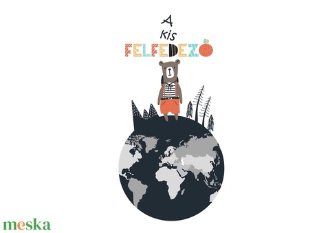 skandináv minimál poszter kerettel, állatos világtérkép földgömb kontinens babaszoba falidekor szülinapi babakártya (nanetto) - Meska.hu