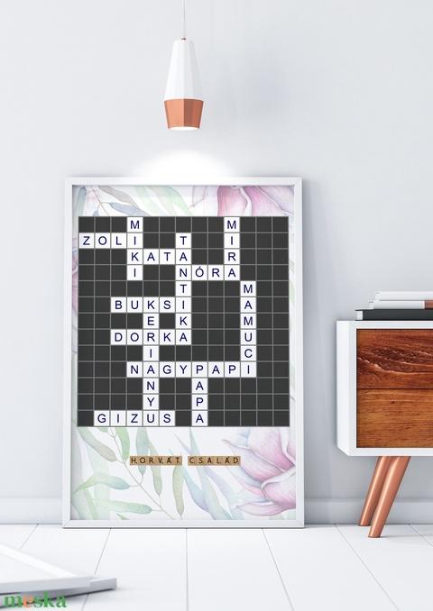 Egyedi névkirakó szókirakó scrabble szülinapi poszter kerettel, Nászajándék, Rejtvény családfa előszoba lakásavató házav - Meska.hu