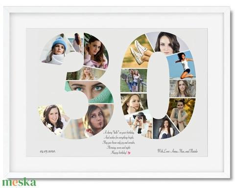 Szülinapi fényképes szám poszter KERETTEL, 30-as szám print montázs faliposzter kerek évfordulóra, Egyedi 40, 50, 60 70 (nanetto) - Meska.hu
