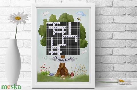 Egyedi scrabble szókirakó családfa poszter kerettel, Nászajándék, Rejtvény családfa előszoba lakásavató házavató print - Meska.hu