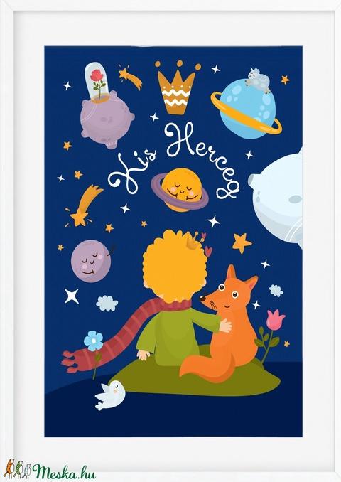 Kis Herceg poszter KERETTEL, Babaszoba dekoráció, Szülinapi ajándékötlet keresztelő ajándék, Róka, Rózsa, Kis Herceg (NaToDesign) - Meska.hu