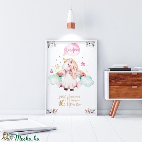 Unikornis egyszarvú szülinapi poszter KERETTEL, Motivációs emléklap, Születésnapi ajándék zsúrba ovis pajtásnak, Dekor (NaToDesign) - Meska.hu