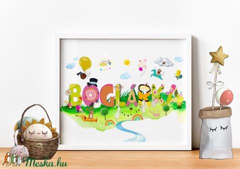 Egyedi kislány névtábla poszter KERETTEL, Keresztelő ajándék, Szülinapi névadó monogram névreszóló gyerekszoba print (NaToDesign) - Meska.hu