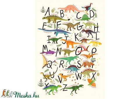 ABC dinós babaszoba poszter KERETTEL, Montessori dinószauruszos abc szülinapi falidekor, Ovis zsúr ajándékötlet, Tanuló (NaToDesign) - Meska.hu