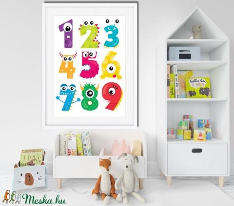 Montessori tanulószám poszter KERETTEL, Szörny falikép, Tanulószám óvoda bölcsőde dekoráció,Ovis zsúr ajándék szülinapra (NaToDesign) - Meska.hu