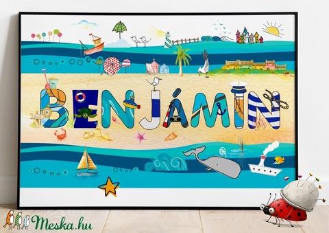 Egyedi kisfiú névtábla poszter KERETTEL, Keresztelő ajándék, Szülinapi névadó monogram névreszóló gyerekszoba print  (NaToDesign) - Meska.hu