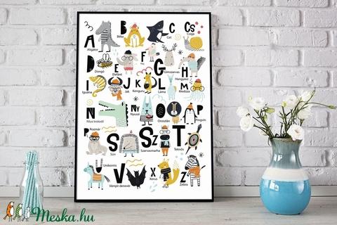 ABC állatos babaszoba poszter KERETTEL, abc szülinapi falidekor, Tanulókártya krokodil kenguru gyerekszoba dekoráció (NaToDesign) - Meska.hu