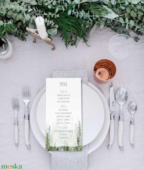 Erdei esküvői menülap, greenery stílusú, esküvői menülap, greenery menülap, zöld menülap, akvarell hatású - esküvő - meghívó & kártya - menü - Meska.hu