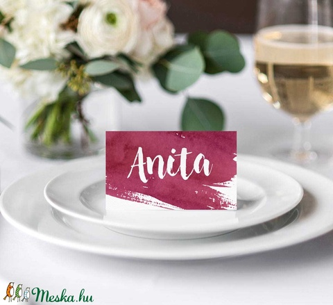 Bordó esküvői meghívó, akvarell meghívó, bordó meghívó - esküvő - meghívó & kártya - meghívó - Meska.hu