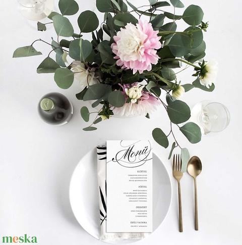Grafikai esküvői meghívó, fekete-fehér meghívó, kalligrafikus meghívó, esküvői meghívó, kalligráfia, 2018, modern (bonniesweddingart) - Meska.hu