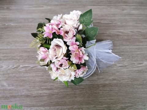 Halvány rózsaszín rózsás menyasszonyi örökcsokor - Meska.hu