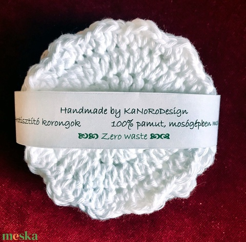 No Waste arctisztító korong sminklemosó pamut kézzel horgolt fehér 100% pamut mosható környezetbarát öko termék  (noesz65) - Meska.hu
