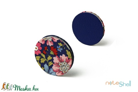 KORONG-sötétkék-virágmintás (noteshell) - Meska.hu