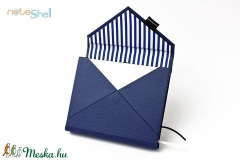 M-es határidőnapló/notesz-kék-fehér-csíkos-boríték (noteshell) - Meska.hu