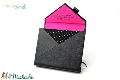 M-es határidőnapló/notesz-fekete-pink-pöttyös-boríték (noteshell) - Meska.hu