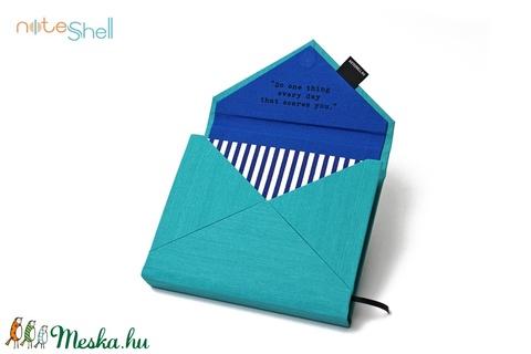 M-es határidőnapló/notesz-türkiz-sötétkék csíkos boríték (noteshell) - Meska.hu