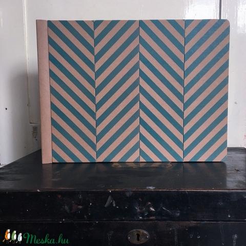 Eco nagy fotóalbum védőtokkal - kék halszálka mintás (noteshell) - Meska.hu