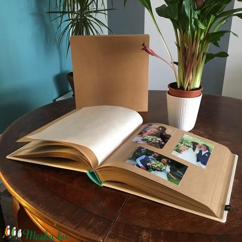 Esküvői fotóalbum védőtokkal - türkiz-fehér (noteshell) - Meska.hu