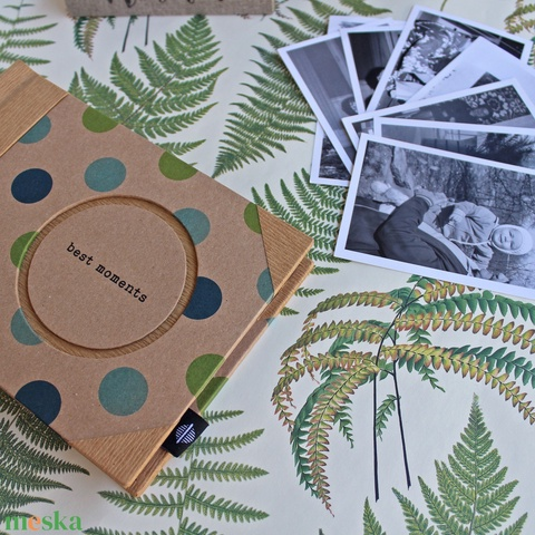 Eco kis fotóalbum - türkiz és zöld színes pöttyös (noteshell) - Meska.hu