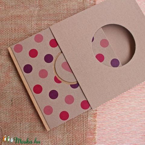 ECO négyzetes napló/vendégkönyv/emlékkönyv védőtokkal,pink/lila pöttyös, feliratos-újrahasznosított papírból (noteshell) - Meska.hu