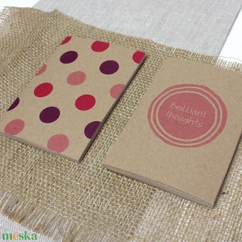 ECO nagy ponthálós füzet - pink - lila - pöttyös / feliratos - újrahasznosított papírból - Meska.hu