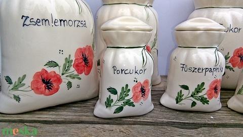 Vidéki romantika-pipacsos  kerámia fűszertartó  készlet  (ntakeramia) - Meska.hu