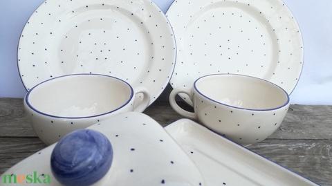 Kék apró pöttyös stílus (ntakeramia) - Meska.hu