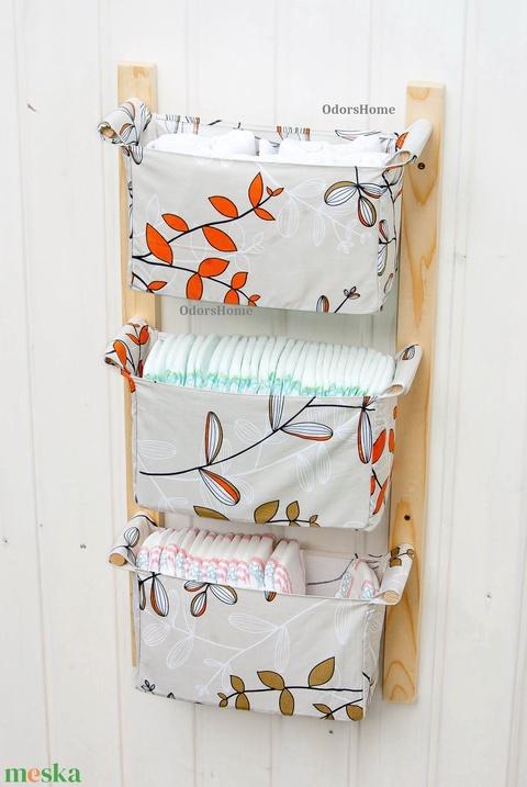 Gyerekszobai tároló - Fürdőszoba bútor - egyszínű vászon rekeszekkel, zsákokkal - fakkos szekrény - lógatható tároló (OdorsHome) - Meska.hu