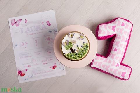1-es számpárna fotózáshoz, babafotózás, lepkés, újszülött fotózás, fotózási kellék, szülinapi fotózás (OdorsHome) - Meska.hu