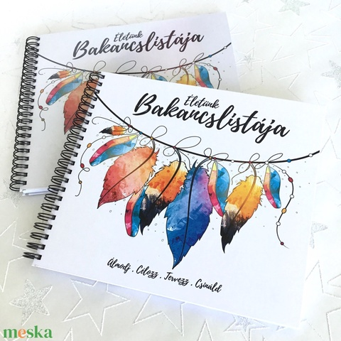 Nászajándék Esküvőre Életünk Bakancslistája - Emlékkönyv - ajándék album / napló - 21x19cm - Meska.hu