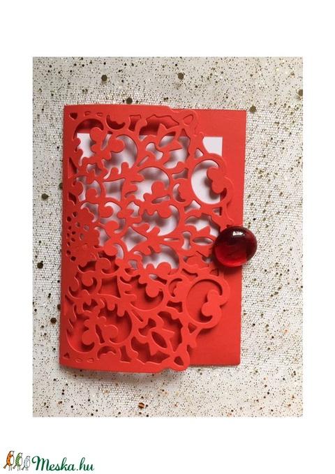 Kicsi csipkemintás, diszes ÉLÉNK PIROS boriték fehér üdvözlőkártyával,  PD 5 Scr 10c (OshiArt) - Meska.hu