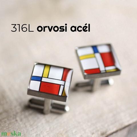 Mondrian nemesacél mandzsettagombok (szögletes) - Meska.hu