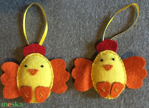 Filc húsvéti csirke, barkadísz - Meska.hu