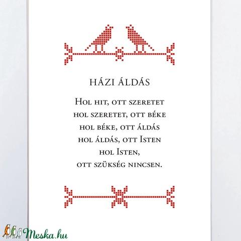 Házi áldás - Madár motívumos falikép, nyomat 13x18 cm - otthon & lakás - dekoráció - kép & falikép - Meska.hu
