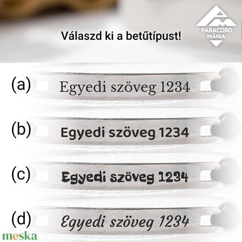 Gravírozható acéllapos karkötő, egyedi szöveggel, Expressz határidővel, választható színekben (paracordmania) - Meska.hu