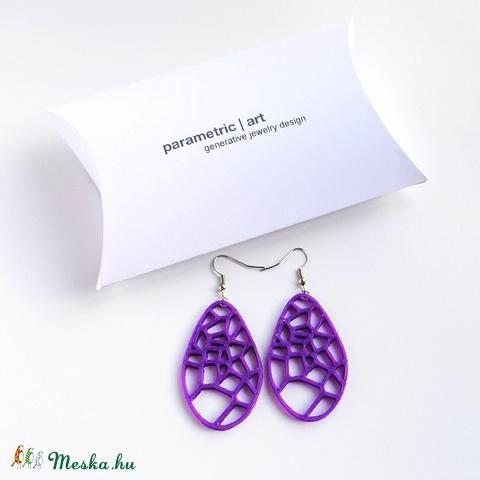 Voronoi generatív 3d nyomtatott fülbevaló (lila) (parametricart) - Meska.hu