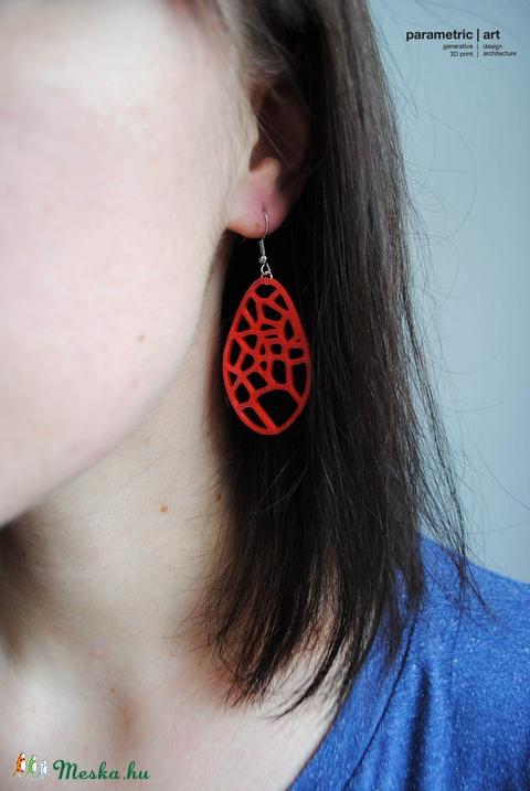 Voronoi generatív 3d nyomtatott fülbevaló (élénk piros) (parametricart) - Meska.hu
