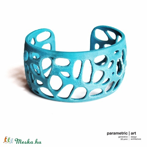 Voronoi simple cuff 3d nyomtatott karkötő (türkiz) (parametricart) - Meska.hu