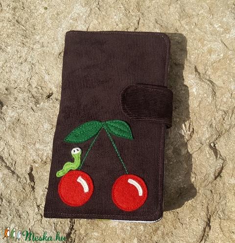 Cseresznye kukaccal csokibarna színű kord irattartó és pénztárca  (patonaifabian) - Meska.hu