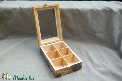 Gyümölcsös teás doboz üveg tetővel - Meska.hu