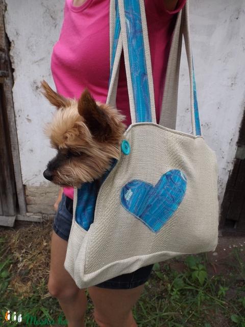 Kék szivecskés kutyahordozó kicsi (PepitaP) - Meska.hu