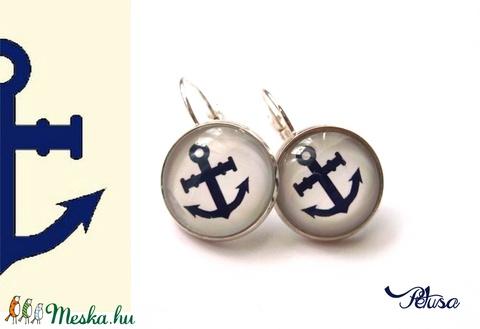 Horgonyos fülbevaló tengerész matróz kék fehér piros csíkos (Petusa) - Meska.hu