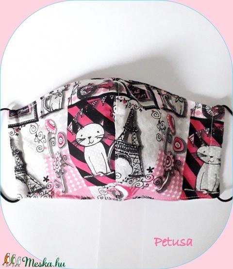 3 rétegű maszk, arcmaszk, szájmaszk szűrőtartóval  párizs cica (Petusa) - Meska.hu